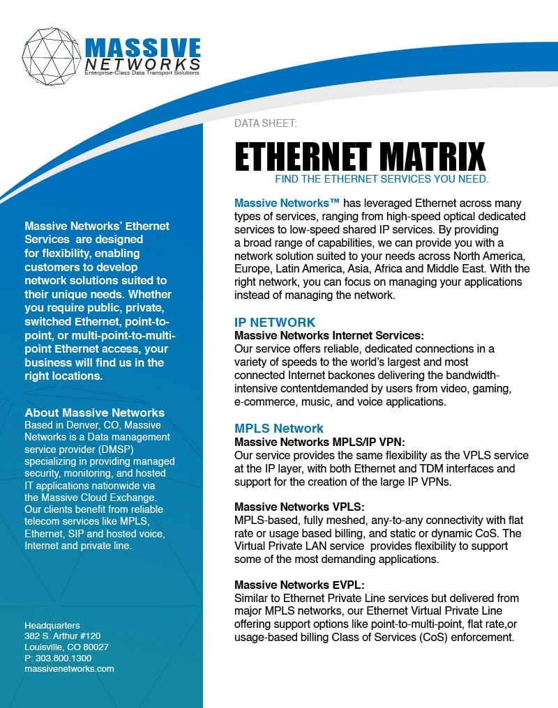 MNS Ethernet Matrix Data Sheet